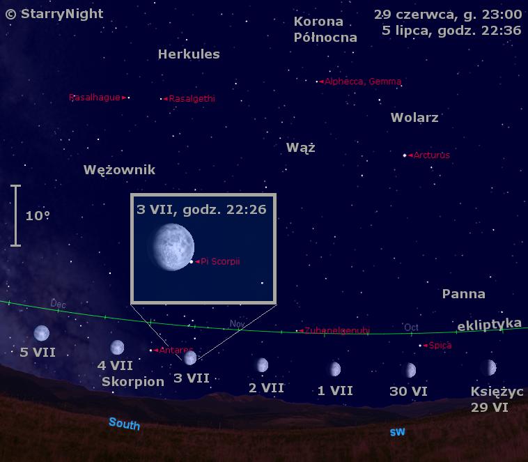 Położenie Księżyca na przełomie czerwca i lipca 2009