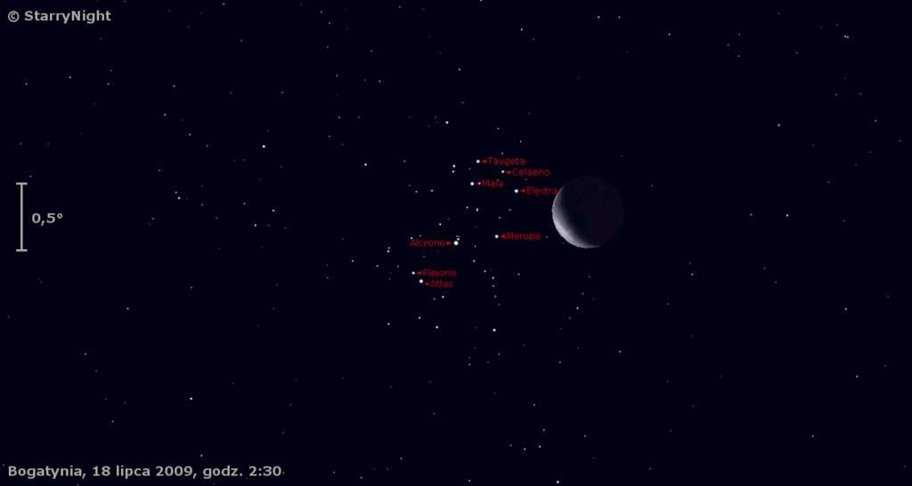 Zakrycie Plejad przez Księżyc 18 lipca 2009
