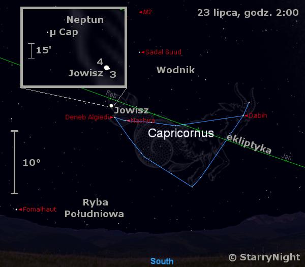 Położenie Jowisza i Neptuna w czwartym tygodniu lipca 2009
