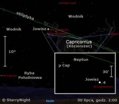 Położenie Jowisza i Neptuna pod koniec lipca 2009