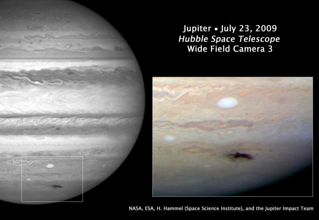 Blizna na Jowiszu w oku Hubble'a