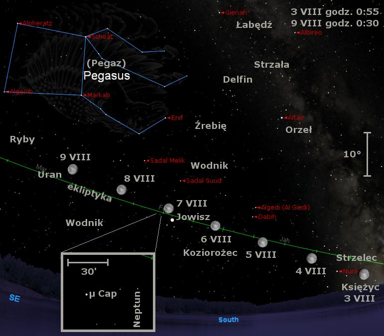 Położenie Księżyca w pierwszym tygodniu sierpnia 2009