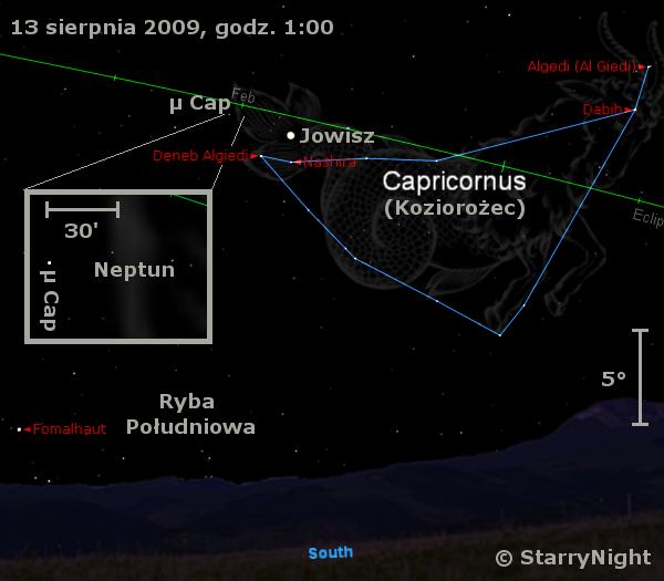Położenie Jowisza i Neptuna w drugim tygodniu sierpnia 2009
