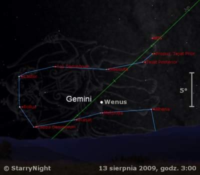Położenie Wenus wdrugim tygodniu sierpnia 2009