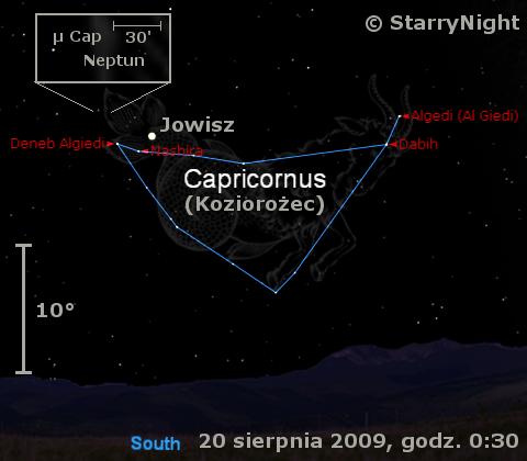 Położenie Jowisza i Neptuna w trzecim tygodniu sierpnia 2009