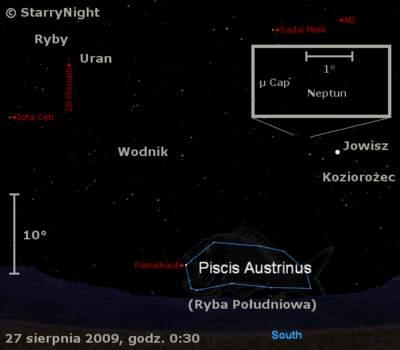 Położenie Jowisza, Neptuna iUrana wczwartym tygodniu sierpnia 2009