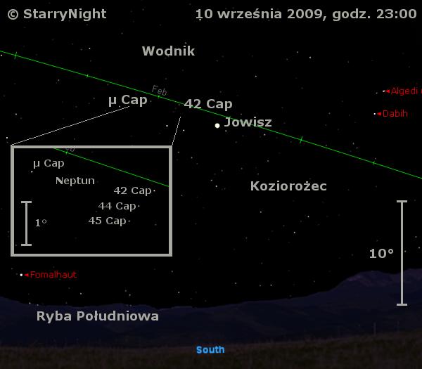 Położenie Jowisza i Neptuna w drugim tygodniu września 2009