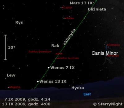 Położenie Wenus wdrugim tygodniu września 2009