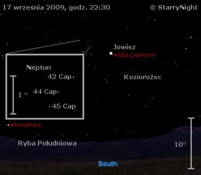 Położenie Jowisza iNeptuna wtrzecim tygodniu września 2009