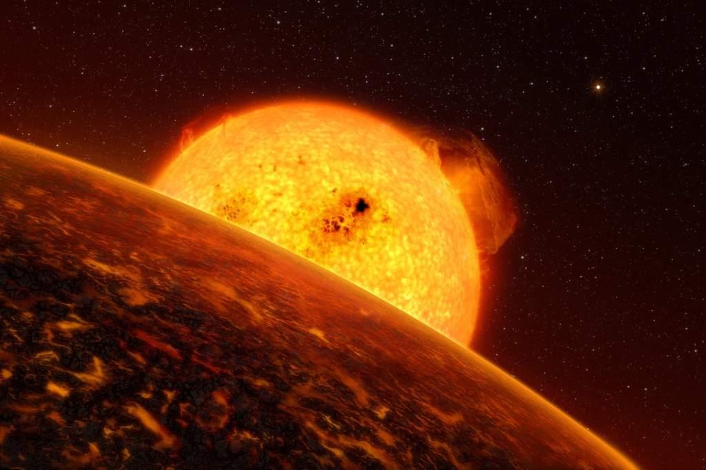 Artystyczna wizja egzoplanety CoRoT-7b.