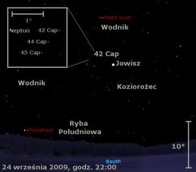 Położenie Jowisza iNeptuna wczwartym tygodniu września 2009
