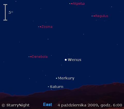 Położenie Wenus, Merkurego i Saturna na początku października 2009