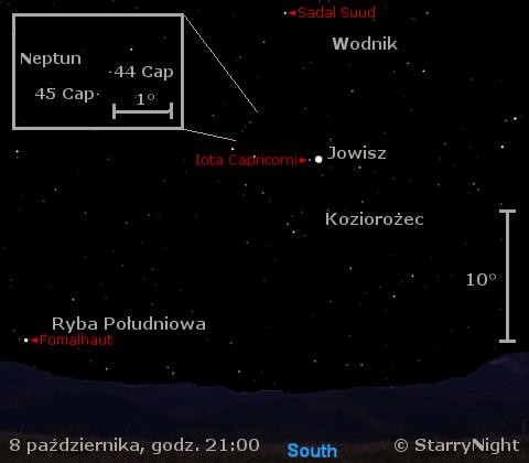 Położenie Jowisza i Neptuna w drugim tygodniu października 2009
