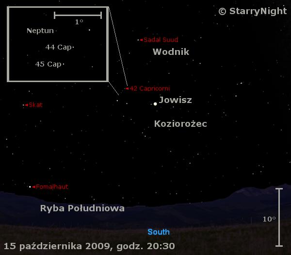 Położenie Jowisza i Neptuna w trzecim tygodniu października 2009