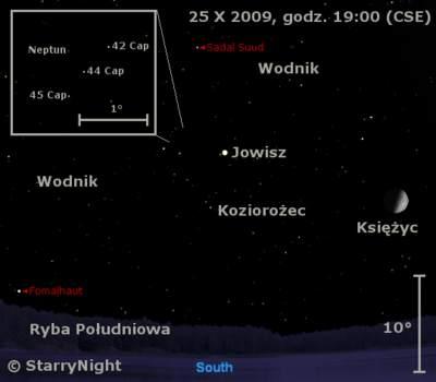 Położenie Jowisza iNeptuna wczwartym tygodniu października 2009
