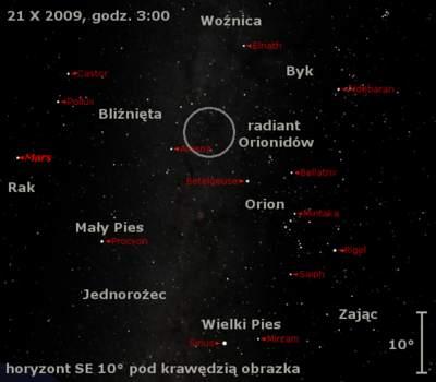 Położenie radiantu roju Orionidów