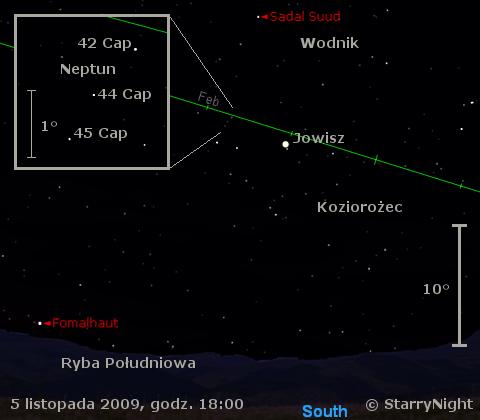 Położenie Jowisza i Neptuna w pierwszym tygodniu listopada 2009