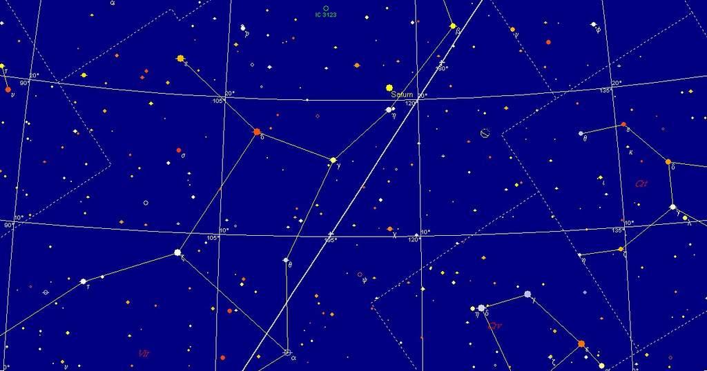Księżyc i Saturn, 10 grudnia 2009, godzina 3:00