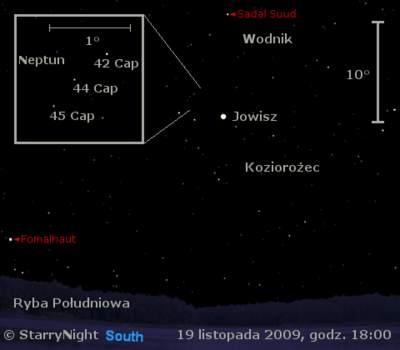 Położenie Jowisza iNeptuna wtrzecim tygodniu listopada 2009