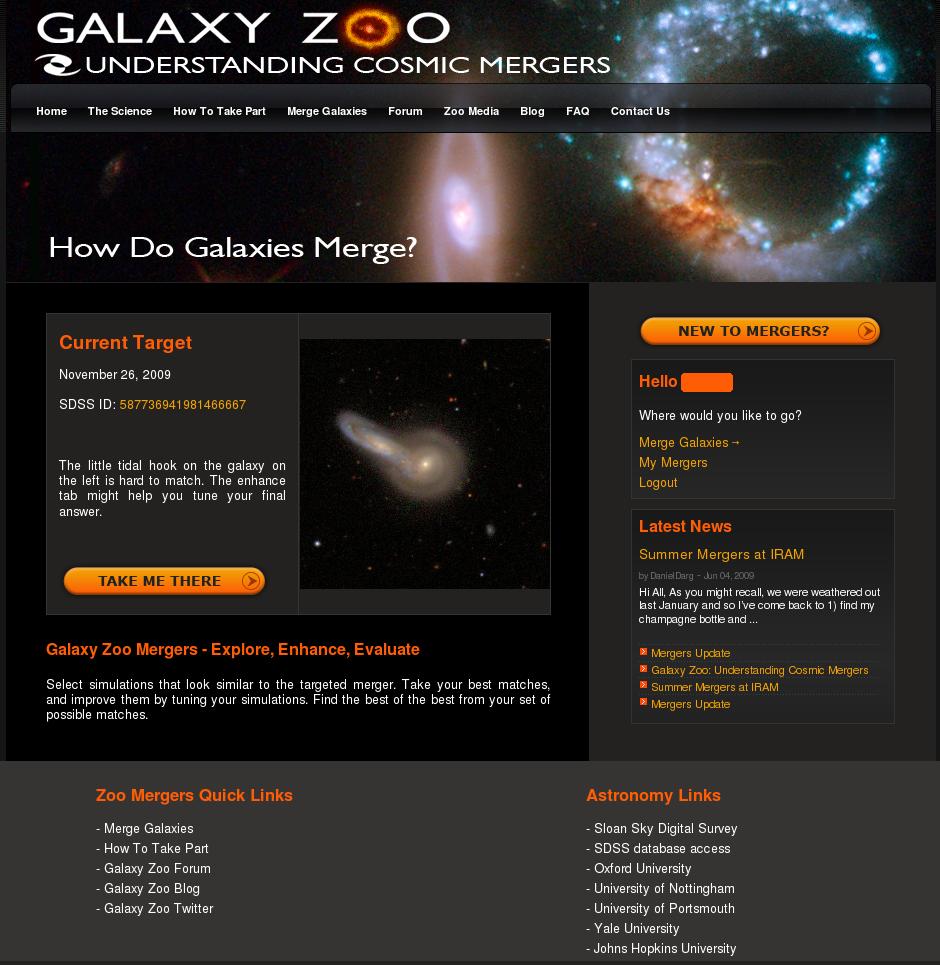 Wygląd witryny Galaktycznego Zoo dotyczącej zderzających się galaktyk