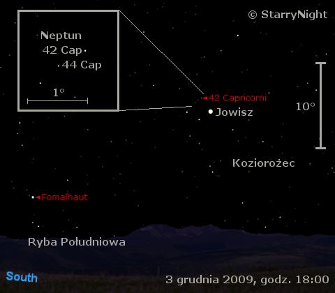 Położenie Jowisza i Neptuna w pierwszym tygodniu grudnia 2009