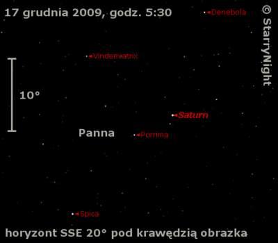 Położenie Saturna wtrzecim tygodniu grudnia 2009