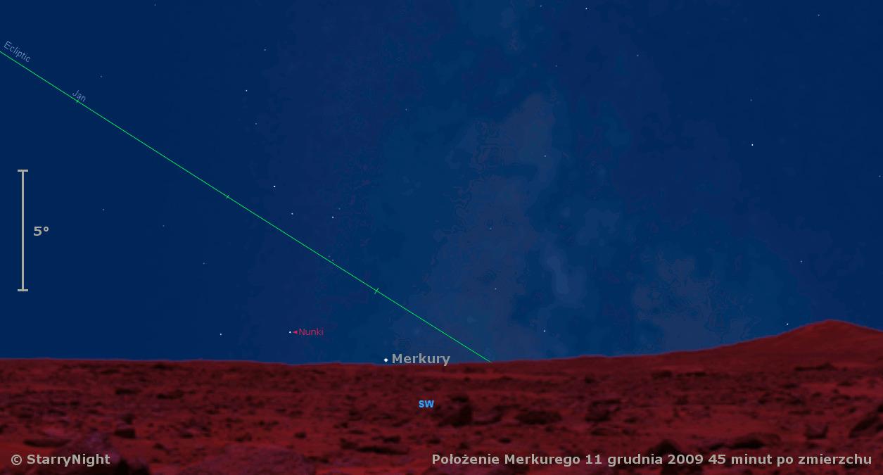 Animacja pokazująca drogę Merkurego na niebie w grudniu 2009.