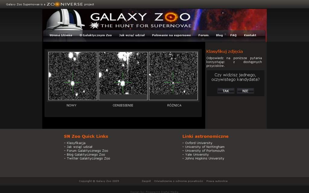 """Strona """"Polowania na supernowe"""" - projektu Galaktycznego Zoo"""
