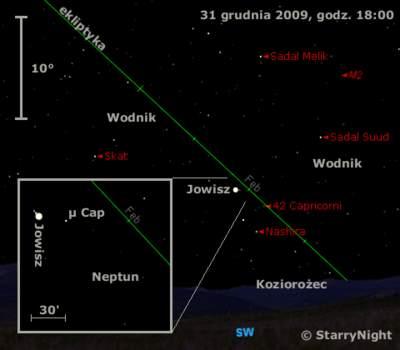 Położenie Jowisza iNeptuna naprzełomie 2009 i2010 roku