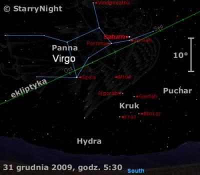 Położenie Saturna naprzełomie 2009 i2010 roku