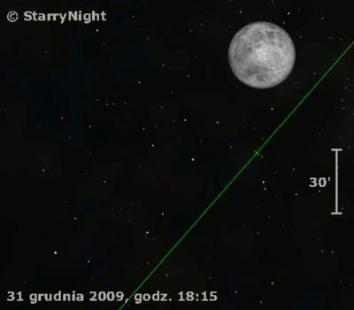 Animacja pokazująca częściowe zaćmienie Księżyca 31 grudnia 2009