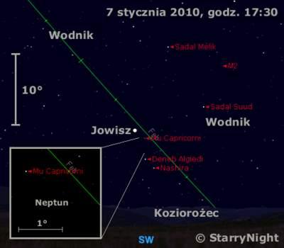 Położenie Jowisza iNeptuna wpierwszym tygodniu stycznia 2010