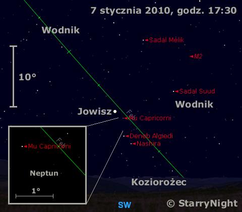 Położenie Jowisza i Neptuna w pierwszym tygodniu stycznia 2010