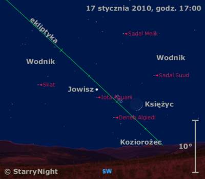 Położenie Jowisza wdrugim tygodniu stycznia 2010