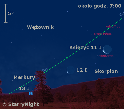 Położenie Księżyca i Merkurego w drugim tygodniu stycznia 2010