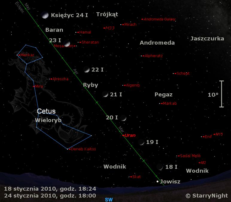Położenie Jowisza i Księżyca w trzecim tygodniu stycznia 2010