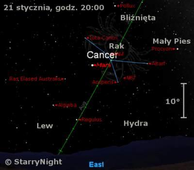 Położenie Marsa wtrzecim tygodniu stycznia 2010
