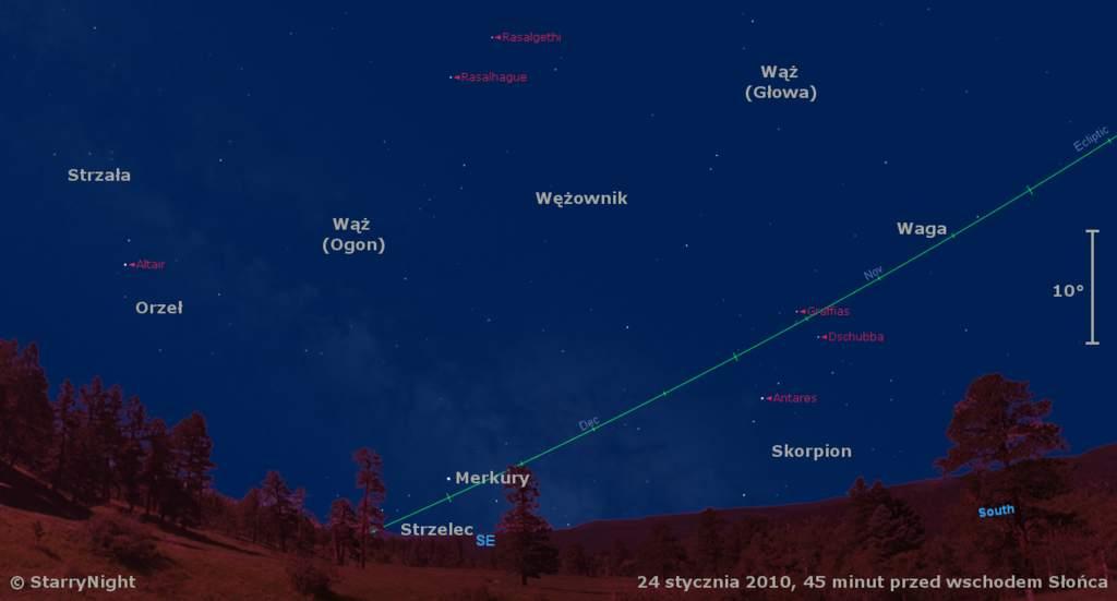 Położenie Merkurego wtrzecim tygodniu stycznia 2010