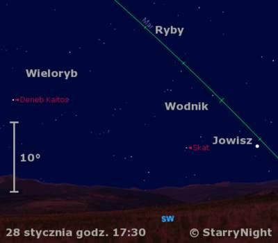 Położenie Jowisza wczwartym tygodniu stycznia 2010