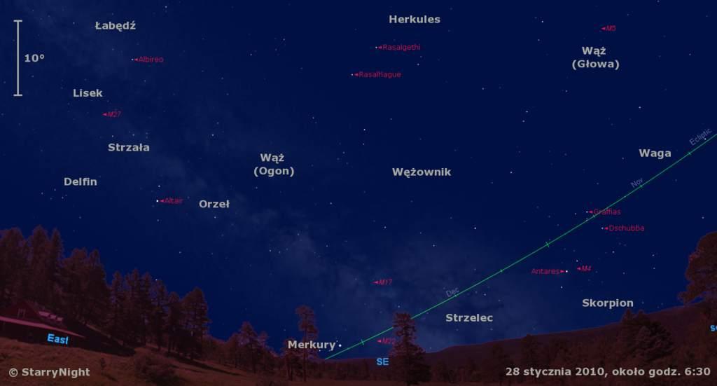 Położenie Merkurego wczwartym tygodniu stycznia 2010
