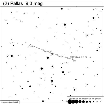 Bardziej szczegółowa mapka pozycji Pallas wśród gwiazd
