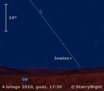 Położenie Jowisza wpierwszym tygodniu lutego 2010