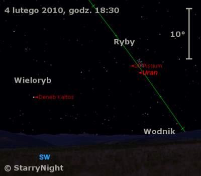 Położenie Urana wpierwszym tygodniu lutego 2010