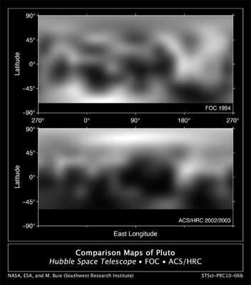 Powierzchnia Plutona - porównanie zdjęć