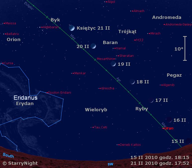 Położenie Księżyca i Urana w trzecim tygodniu lutego 2010