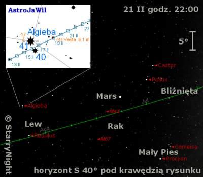 Położenie Marsa iWesty wtrzecim tygodniu lutego 2010