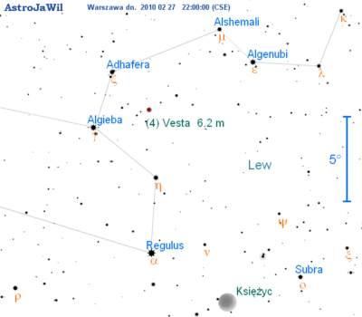 Położenie Westy wczwartym tygodniu lutego 2010