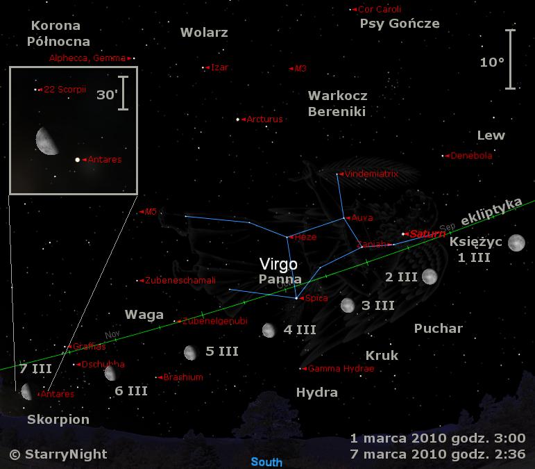 Położenie Księżyca i Saturna w pierwszym tygodniu marca 2010