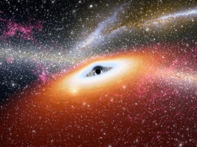 Wizja artystyczna supermasywnej czarnej dziury.