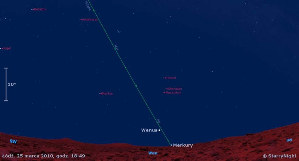Położenie Merkurego w pierwszym miesiącu wiosny 2010
